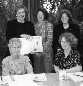 Oregon Women Lawyer's newsletter committee (clockwise): Katherine O'Neil, Terri Kraemer, Diane Rynerson, Janet Regnell, and Carolyn Buan (editor), circa 1995.